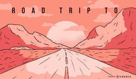 Ilustración de paisaje de viaje por carretera