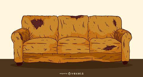 Ilustración de sofá viejo desgastado