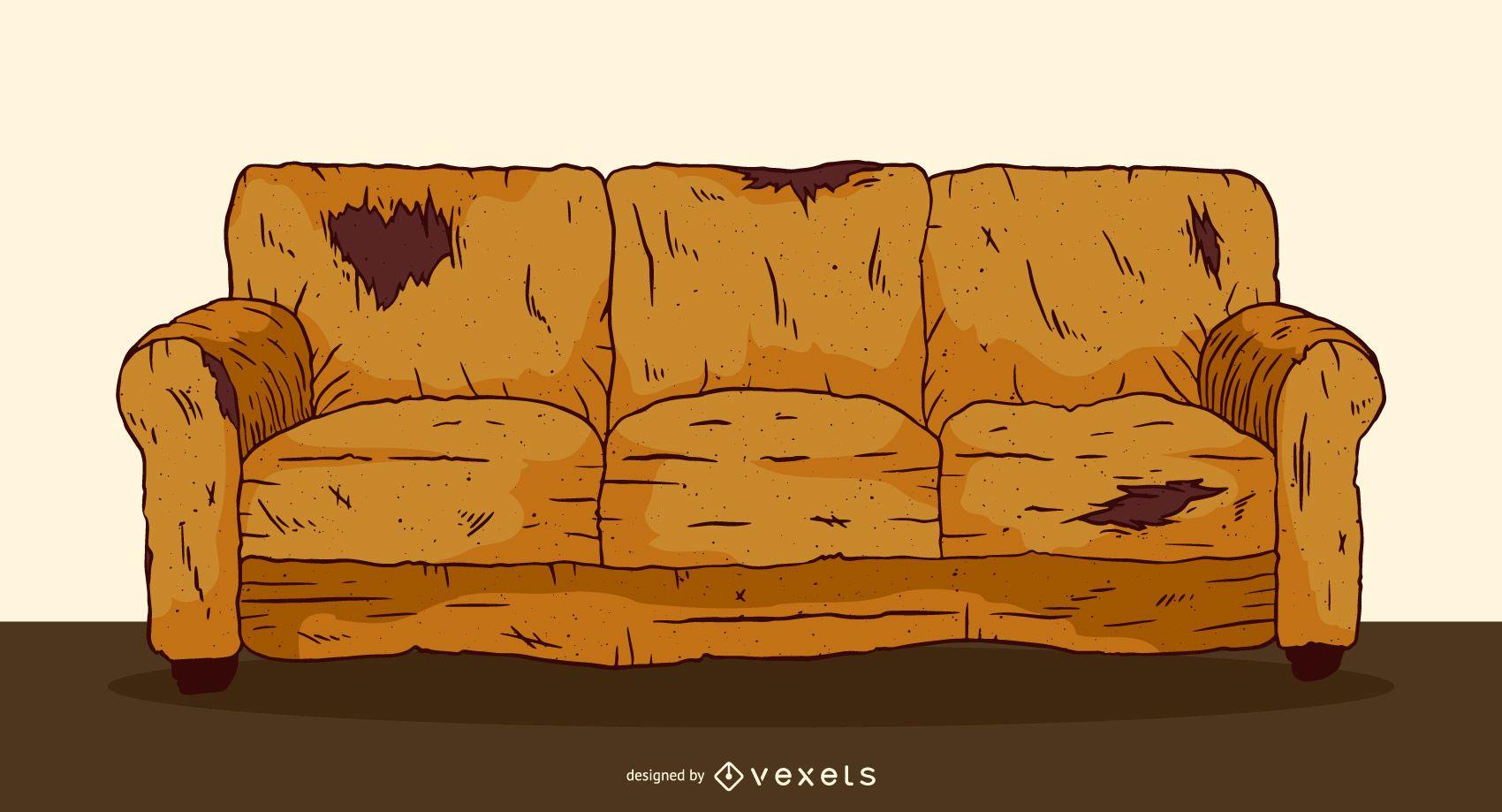 Ilustraci?n de sof? viejo desgastado