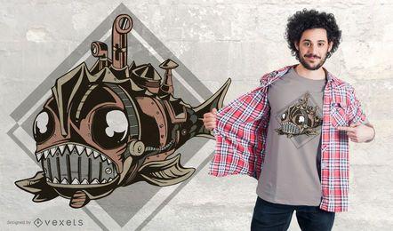 Projeto mecânico do t-shirt dos peixes de Steampunk