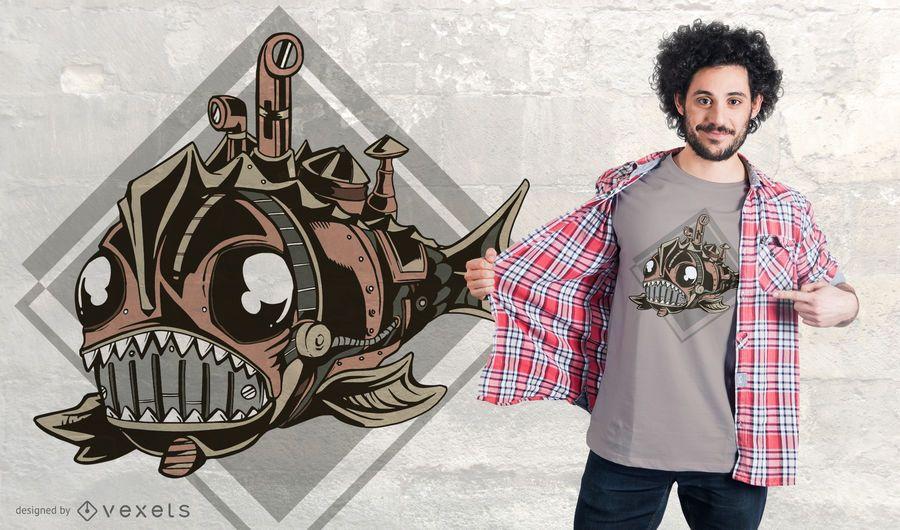 Diseño de camiseta Steampunk Mechanical Fish