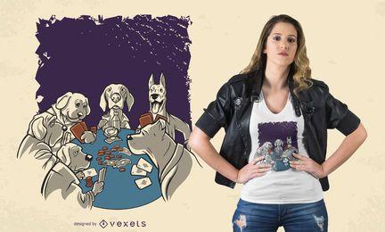 Design de camisetas de animais de cães de pôquer