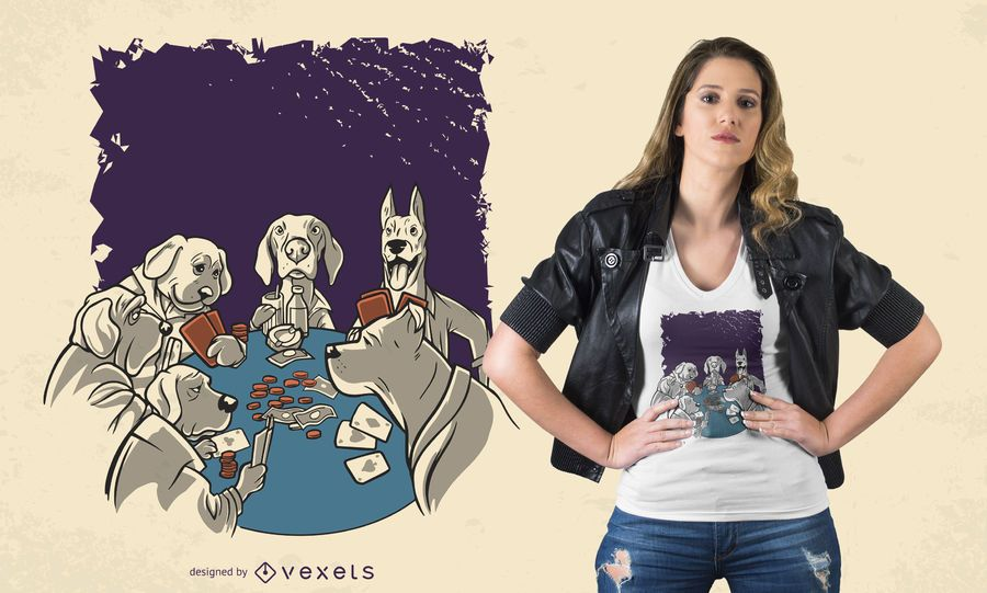 Diseño de camiseta Animal Poker Dogs