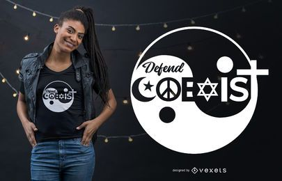 Diseño de camiseta Religion Defender Coexist Quote