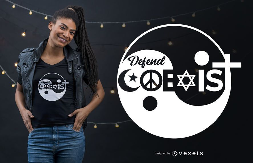Religion Defend Coexist Quote T-shirt Design