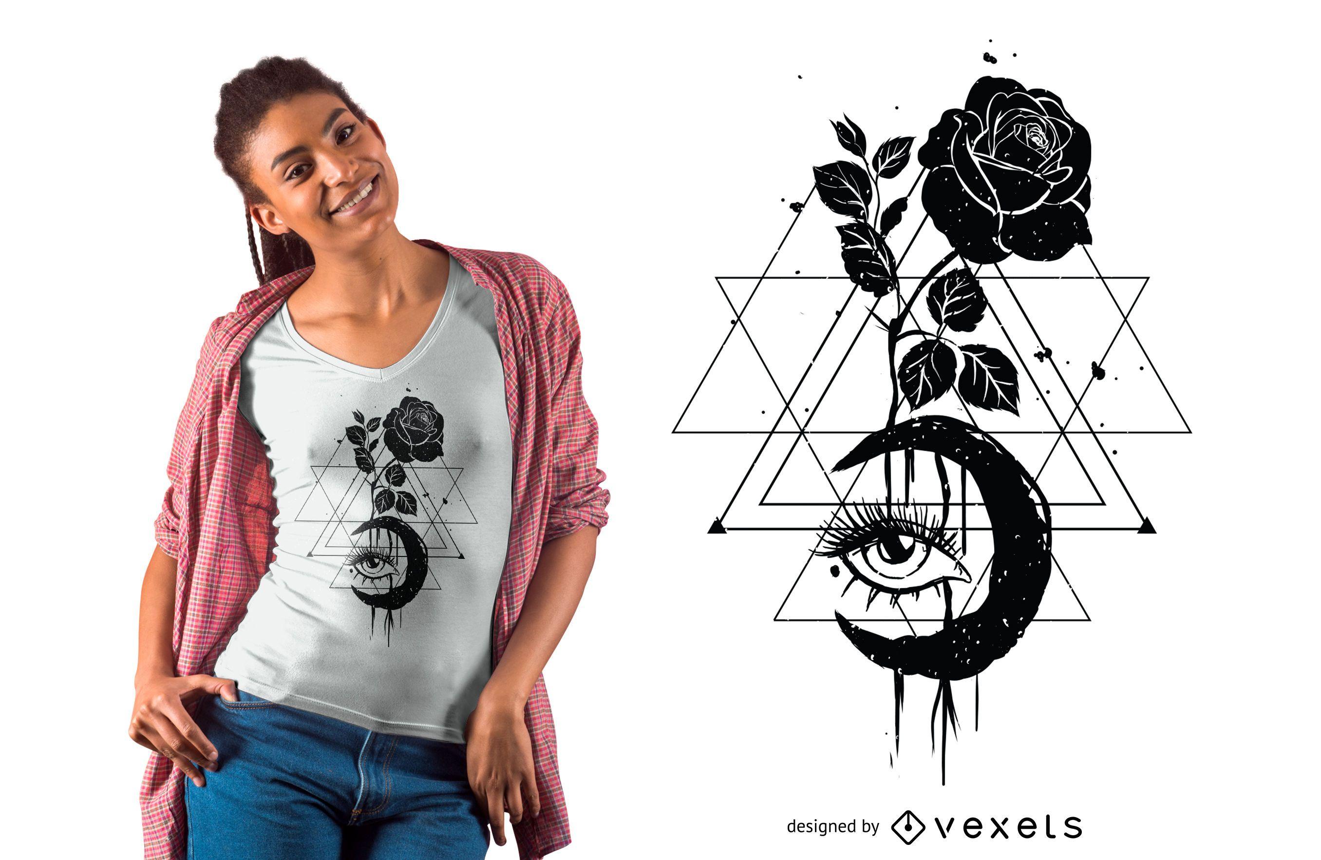 Diseño de camiseta Moon Rose