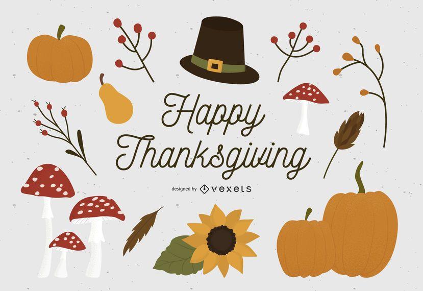 Happy thanksgiving elements set
