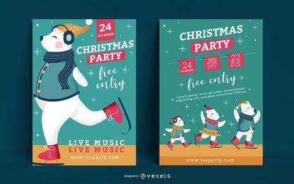 Conjunto de póster de invitación de fiesta de Navidad