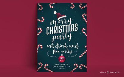 Diseño de invitación de fiesta de feliz Navidad