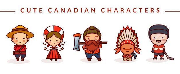 Lindo conjunto de personajes canadienses