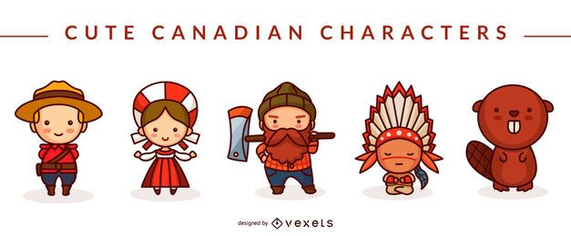 Cute canadian characters set