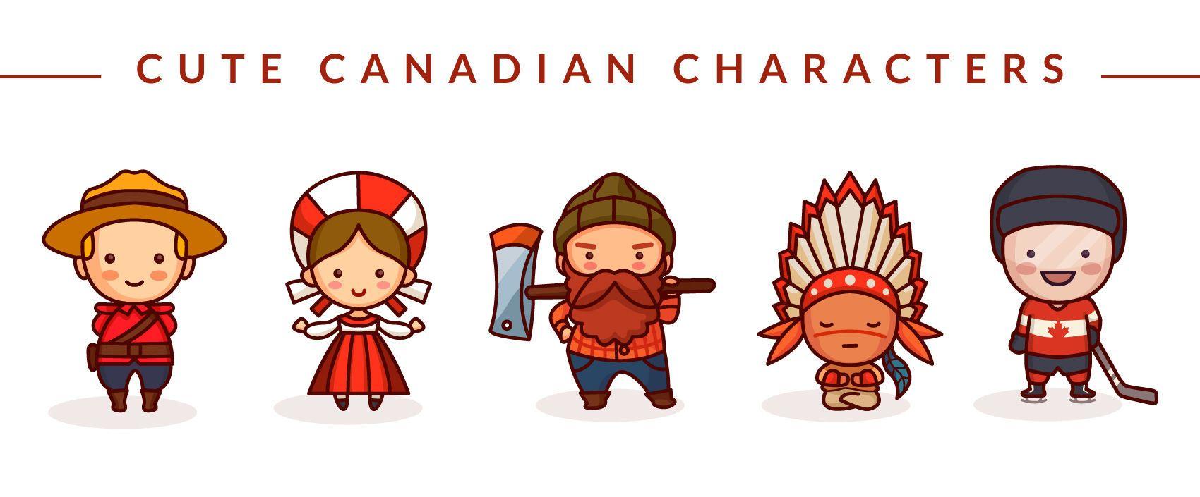 Cute canadian characters set