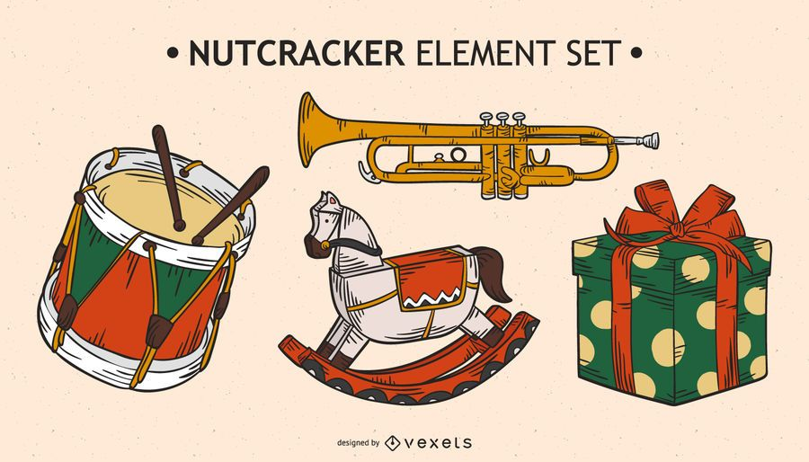 Nutcracker elements vector set