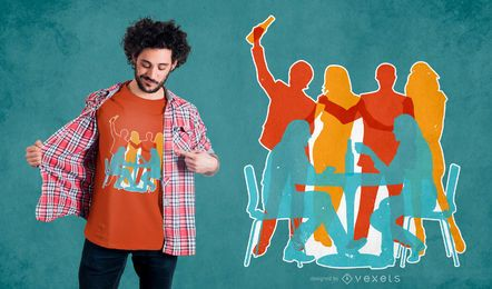 Design de t-shirt de festa de silhueta de amigos