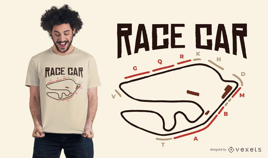 Design de t-shirt de circuito de carro de corrida