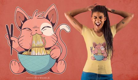 Design bonito do t-shirt dos Ramen do gato que come
