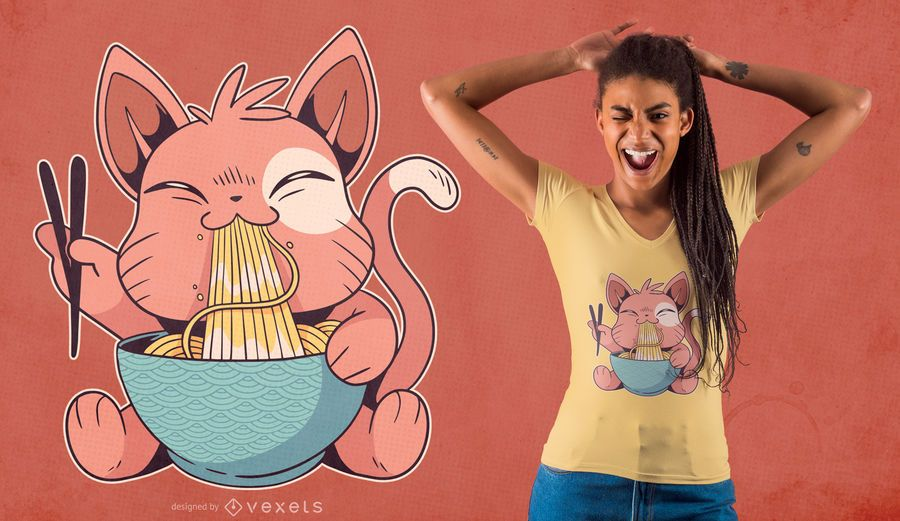 Cute Cat Eating Ramen T-shirt Design