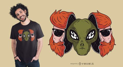 Hipster Alien T-Shirt Design