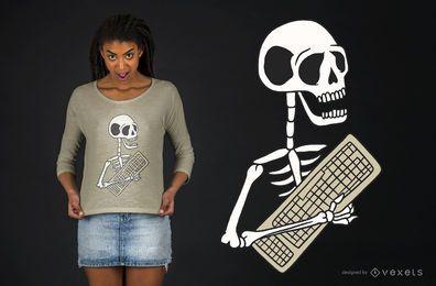 Diseño de camiseta de teclado esqueleto