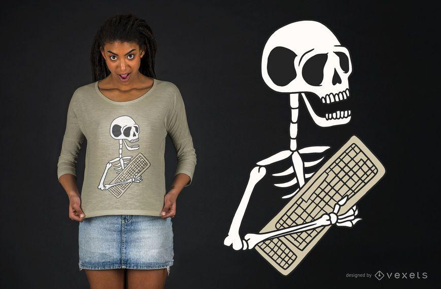 Design de t-shirt de teclado esqueleto