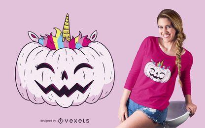 Diseño de camiseta de calabaza unicornio
