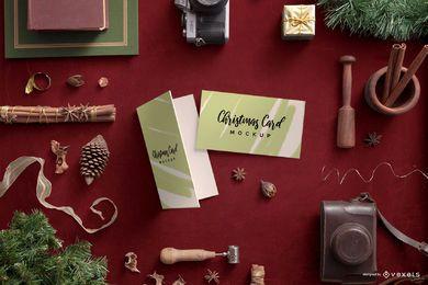 Tarjeta de Navidad Maqueta de composición de vacaciones