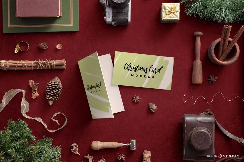 Christmas Card Holiday Composition Mockup