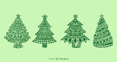 Conjunto de mandala de árboles de navidad