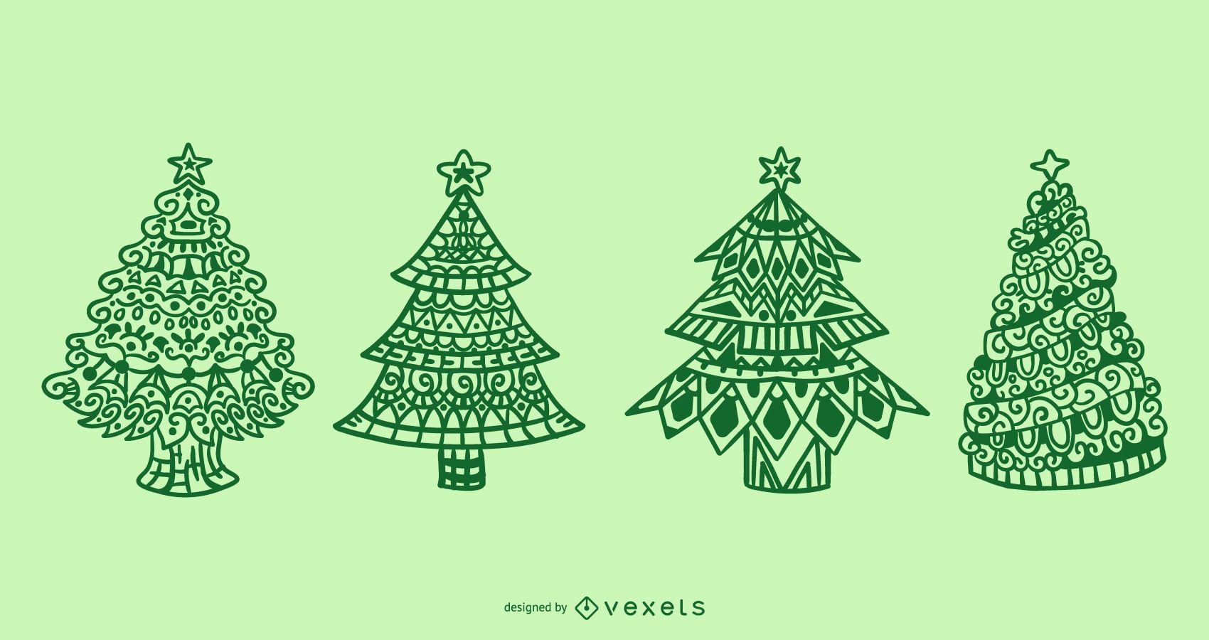 Christmas trees mandala set