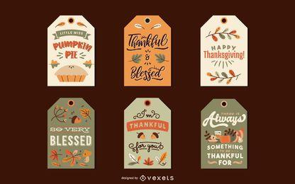 Paquete de etiquetas de acción de gracias