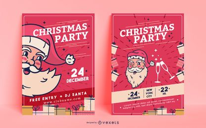 Christmas party invitation posters