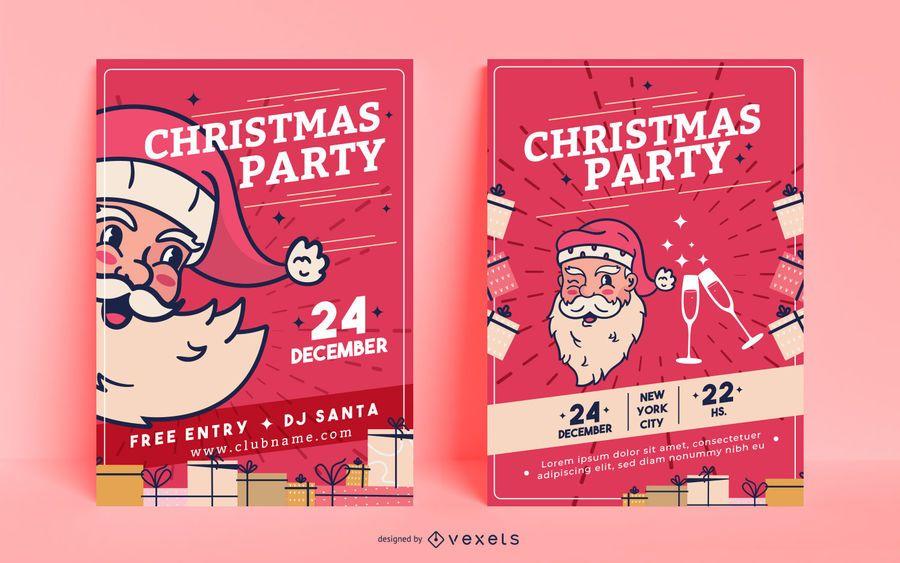 Cartazes de convite de festa de Natal