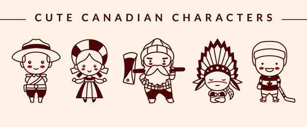Lindo paquete de diseño de trazo de personaje canadiense