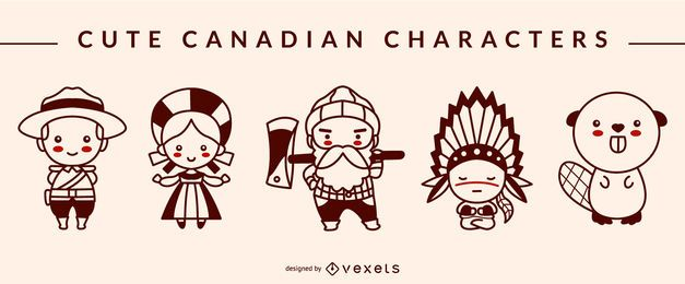 Niedliches kanadisches Character Stroke Design Pack