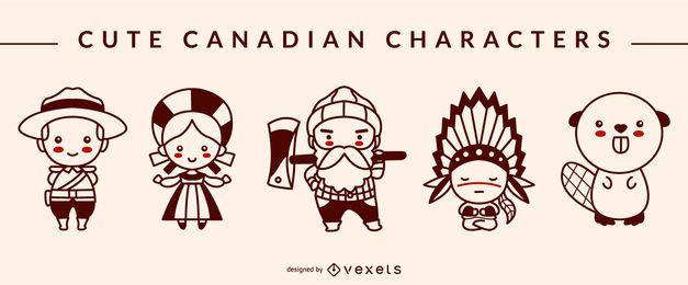 Pacote de design de traço de personagem canadense bonito