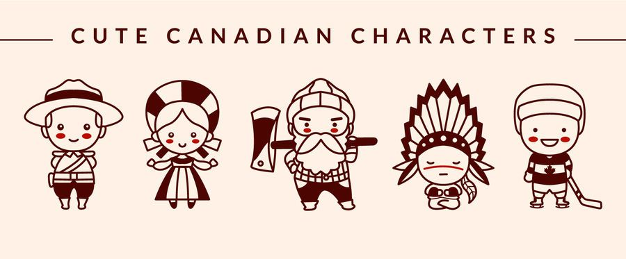Cute Canadian Character Stroke Design Pack