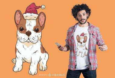 Diseño de camiseta Bulldog santa hat