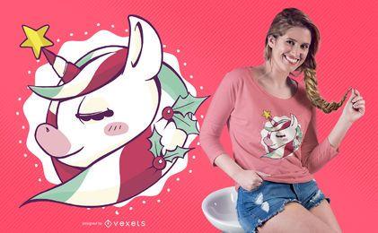 Design fofo de camiseta de unicórnio de natal