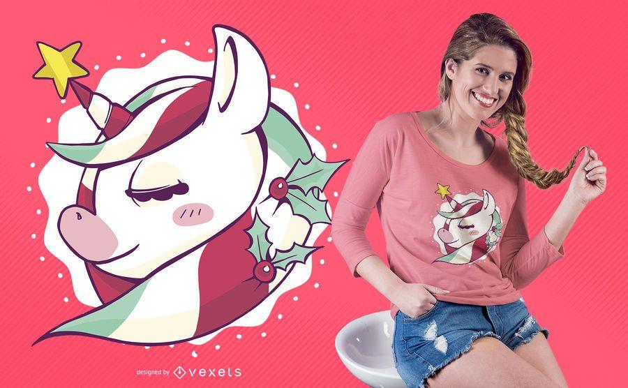 Cute christmas unicorn t-shirt design