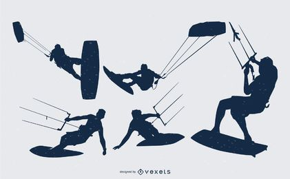 Colección de silueta de personas de kitesurfista