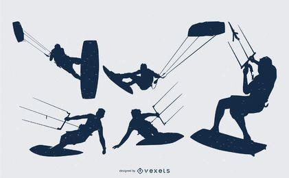Kitesurfer-Leute-Schattenbild-Sammlung
