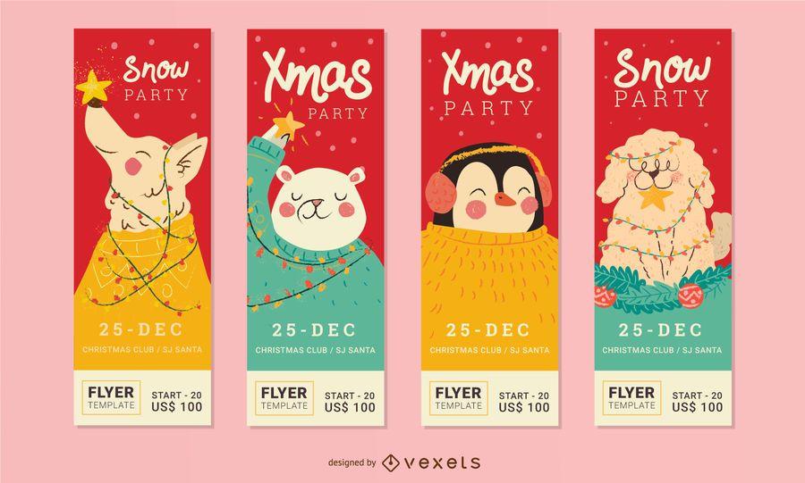 Set de flyer de fiesta de navidad