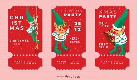 Conjunto de duende de bilhetes de Natal
