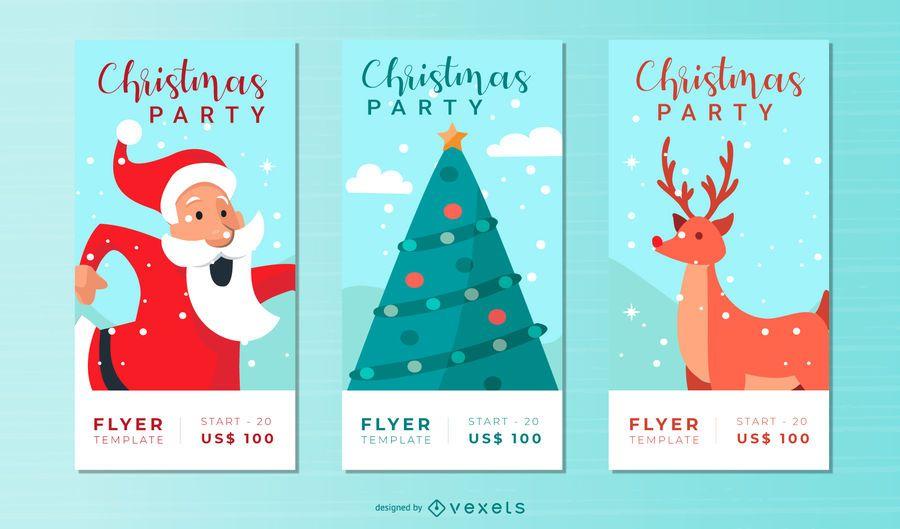 Xmas party flyer set