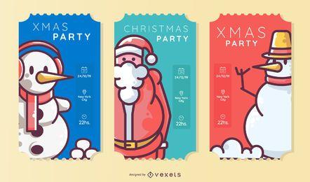 Conjunto de bilhetes de festa de Natal