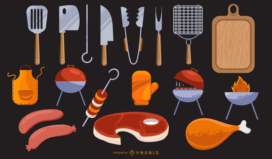 Conjunto de diseño de iconos de elementos de barbacoa