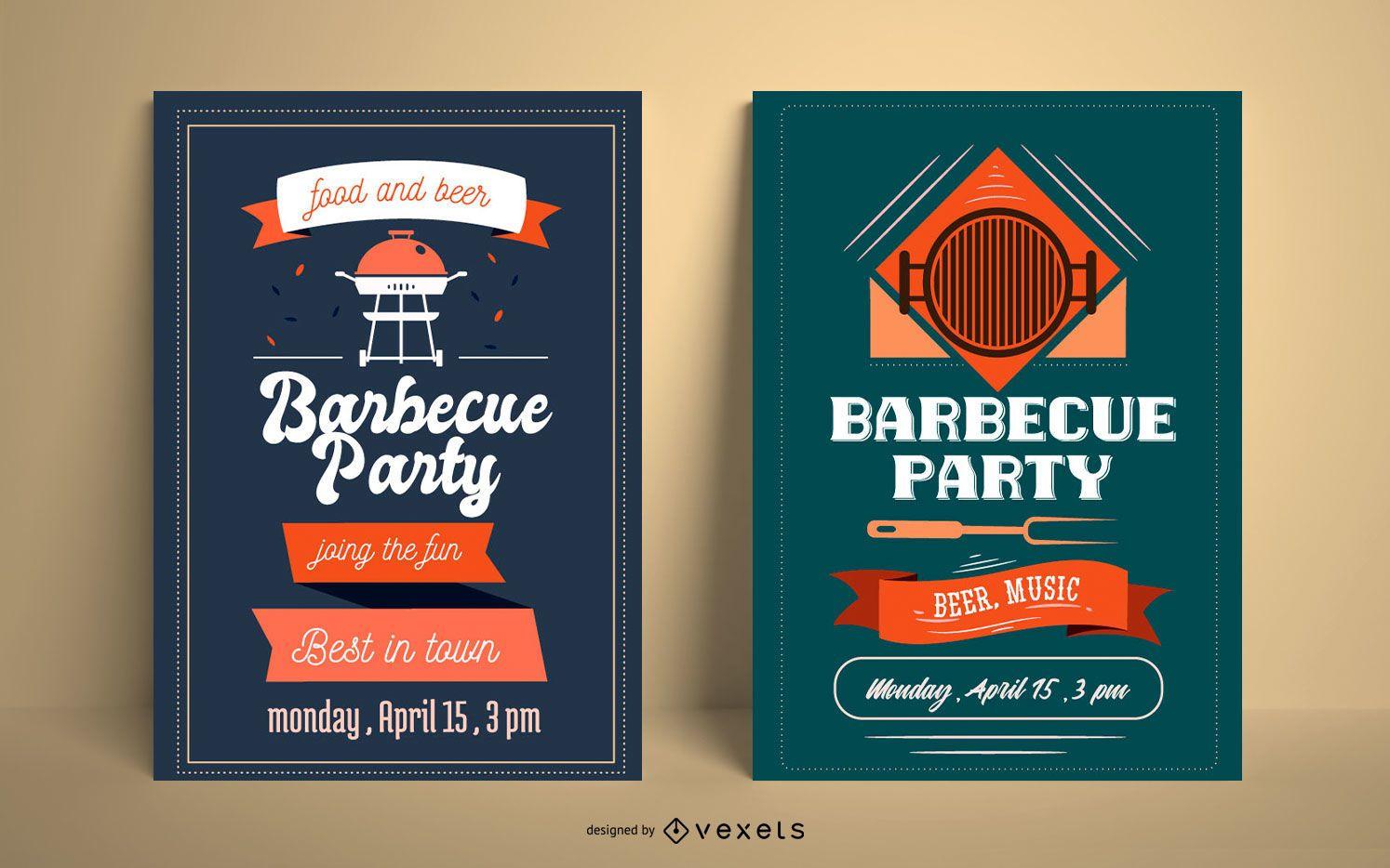 Paquete de carteles de fiesta de barbacoa