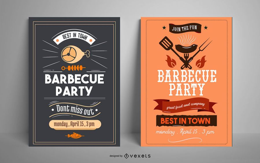 Conjunto de diseño de carteles de fiesta de barbacoa