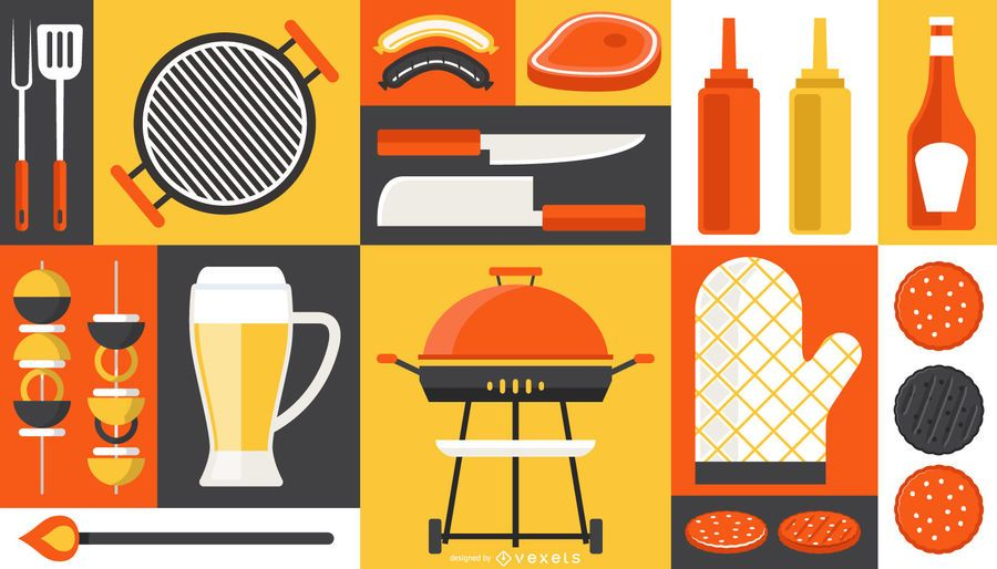 Barbecue Elements Composition Design