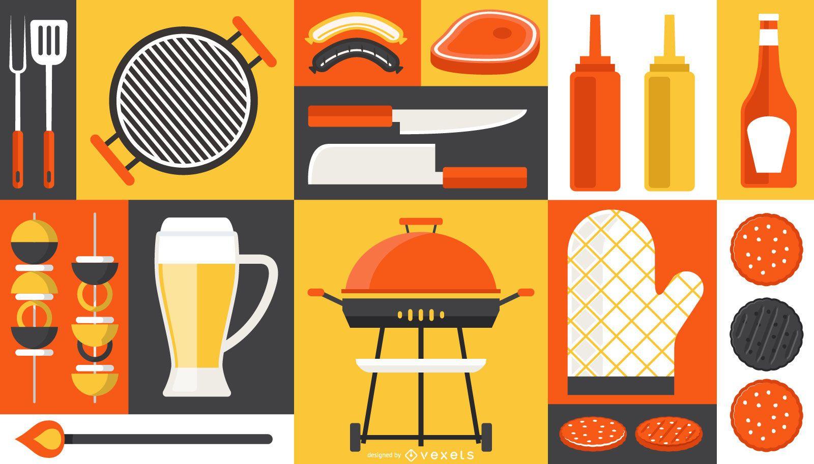 Barbecue Elements Composition Design